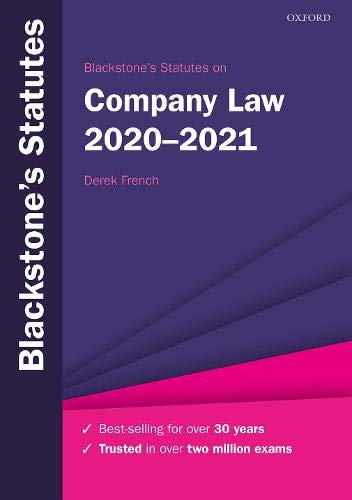Blackstone's Statutes on Company Law 2020-2021