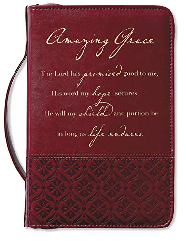 Amazing Grace Italian Duo-Tone Rich Red Large Book and Bible Cover