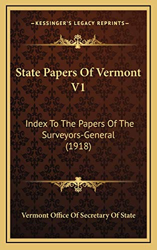 State Papers Of Vermont V1