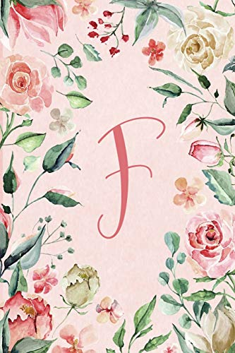 """Notebook 6""""x9"""" - Initial F - Pink Green Floral Design"""