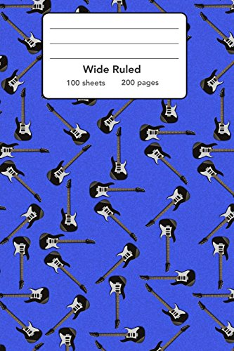 """Wide Ruled Composition Notebook 6"""" x 9"""". Guitar Instruments Music Rock"""